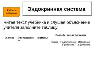 Эндокринная система Читая текст учебника и слушая объяснение учителя заполнит