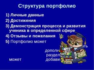 Структура портфолио 1) Личные данные 2) Достижения 3) Демонстрация процесса и
