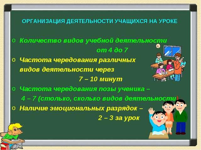 ОРГАНИЗАЦИЯ ДЕЯТЕЛЬНОСТИ УЧАЩИХСЯ НА УРОКЕ Количество видов учебной деятельно...