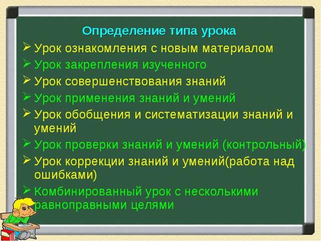 Определение типа урока Урок ознакомления с новым материалом Урок закрепления...