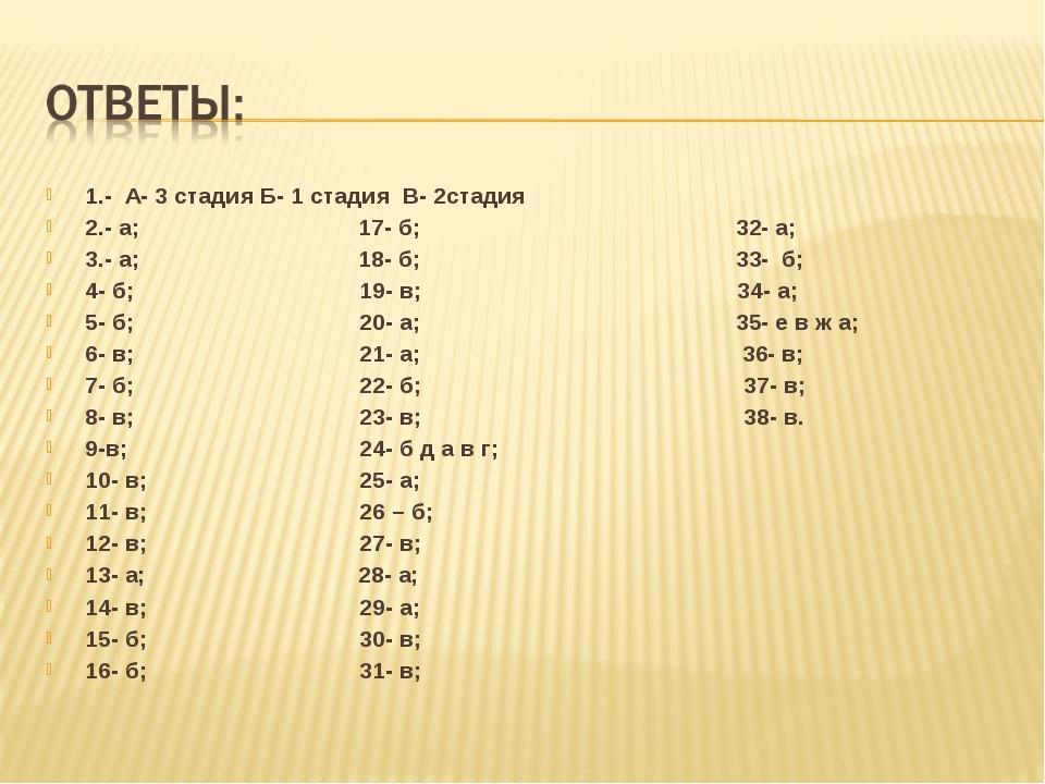 1.- А- 3 стадия Б- 1 стадия В- 2стадия 2.- а; 17- б; 32- а; 3.- а; 18- б; 33-...