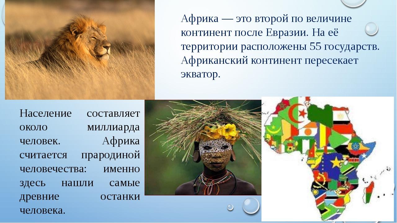 Население составляет около миллиарда человек. Африка считается прародиной че...