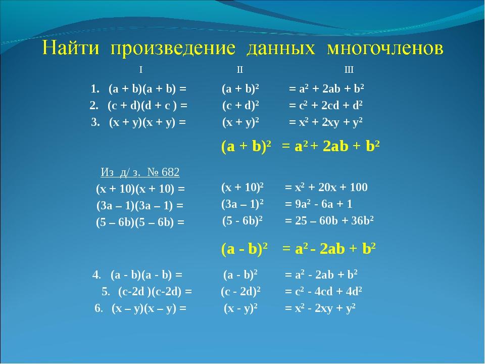 1. (а + b)(а + b) = 2. (с + d)(d + c ) = 3. (x + y)(x + y) = = а2 + 2аb + b2...