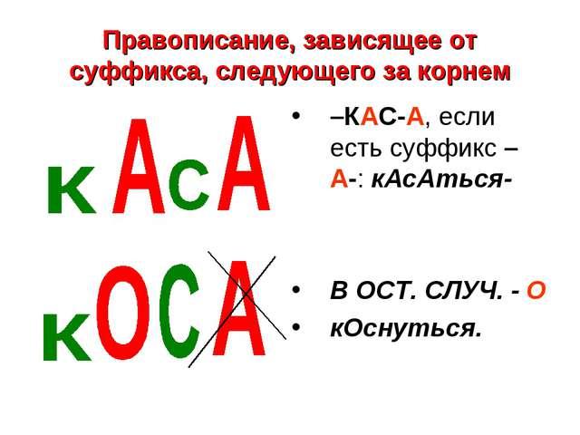 Правописание, зависящее от суффикса, следующего за корнем –КАС-А, если есть с...