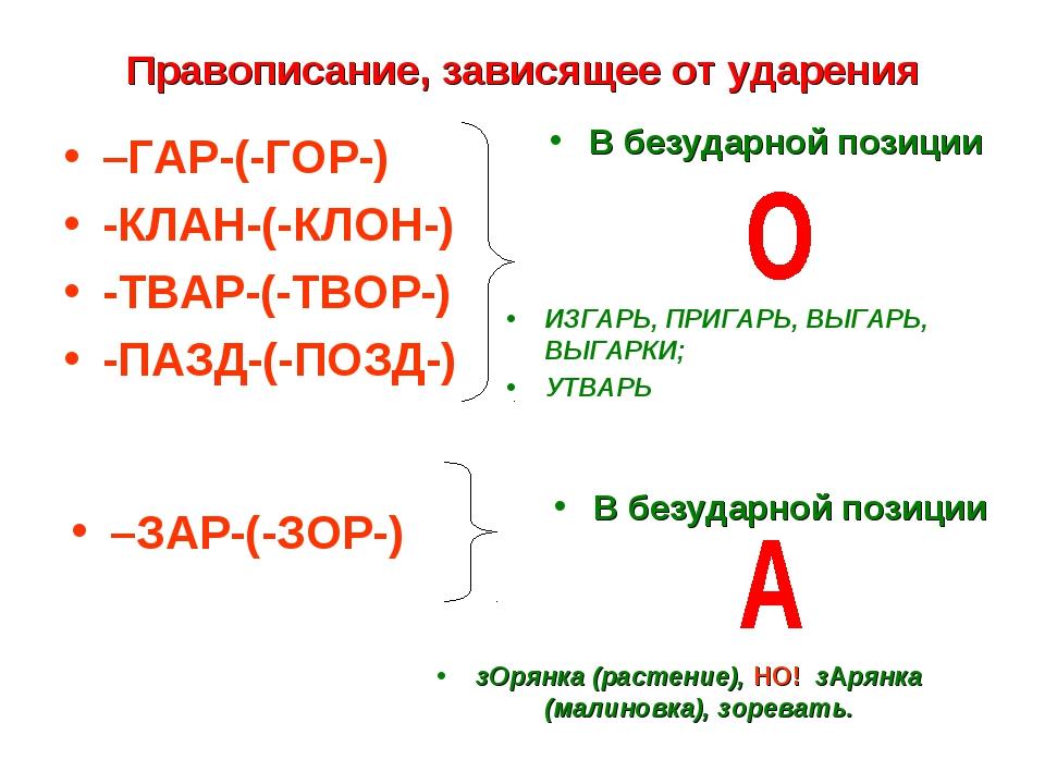 Правописание, зависящее от ударения –ГАР-(-ГОР-) -КЛАН-(-КЛОН-) -ТВАР-(-ТВОР-...