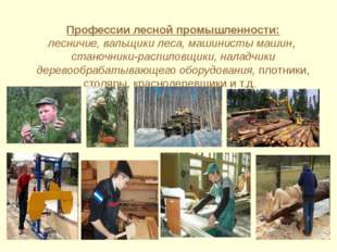 Профессии лесной промышленности: лесничие, вальщики леса, машинисты машин, с