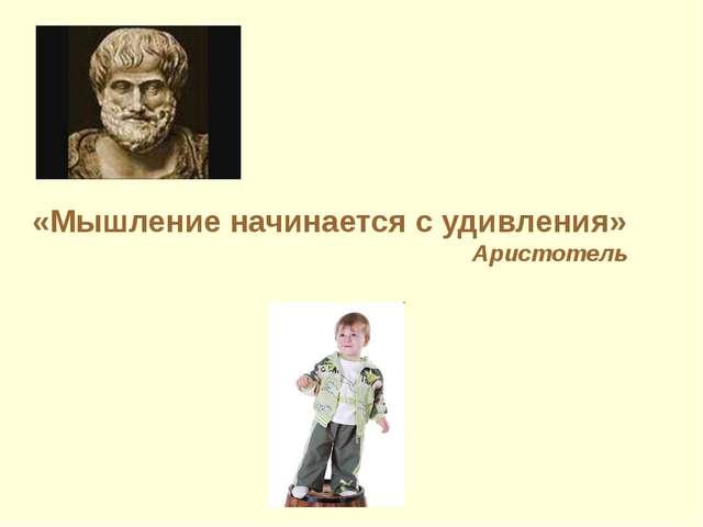 «Мышление начинается с удивления» Аристотель