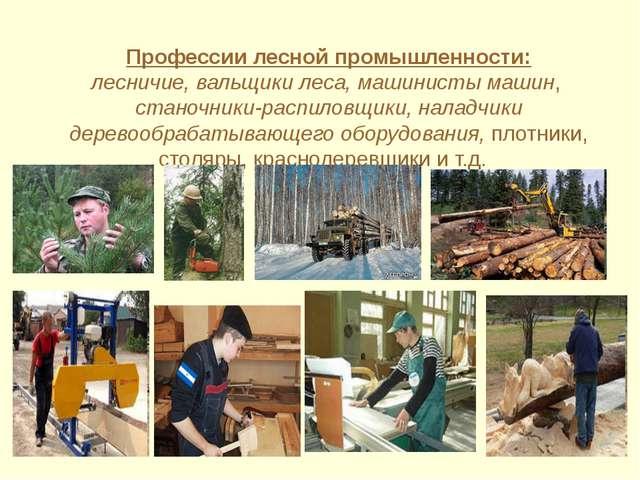 Профессии лесной промышленности: лесничие, вальщики леса, машинисты машин, с...
