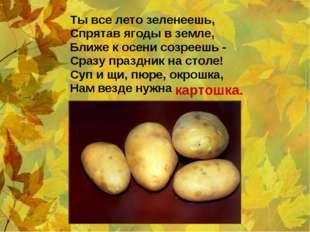 Ты все лето зеленеешь, Спрятав ягоды в земле, Ближе к осени созреешь - Сразу