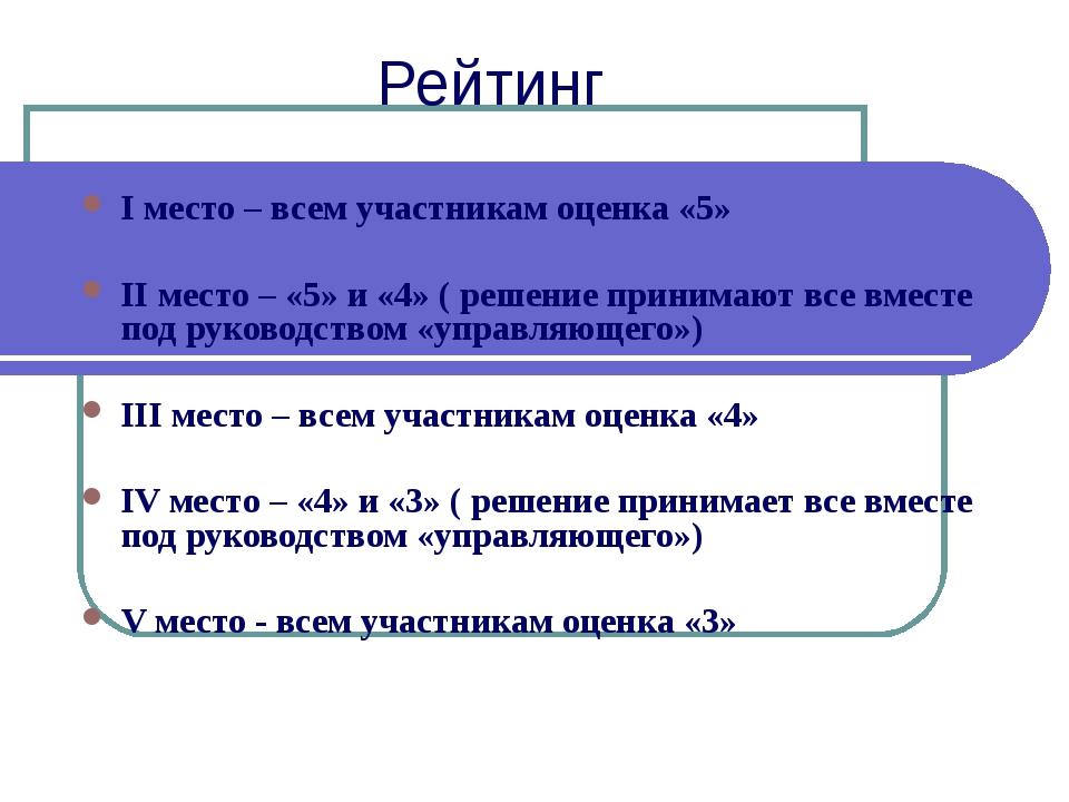Рейтинг I место – всем участникам оценка «5» II место – «5» и «4» ( решение п...