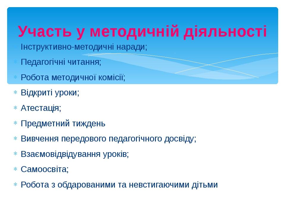 Участь у методичній діяльності Інструктивно-методичні наради; Педагогічні чит...
