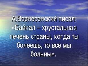 А.Вознесенский писал: «Байкал – хрустальная печень страны, когда ты болеешь,
