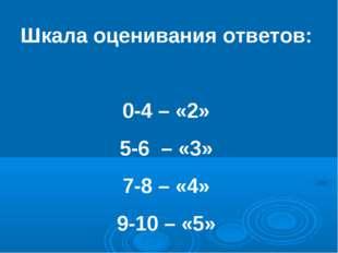 Шкала оценивания ответов: 0-4 – «2» 5-6 – «3» 7-8 – «4» 9-10 – «5»