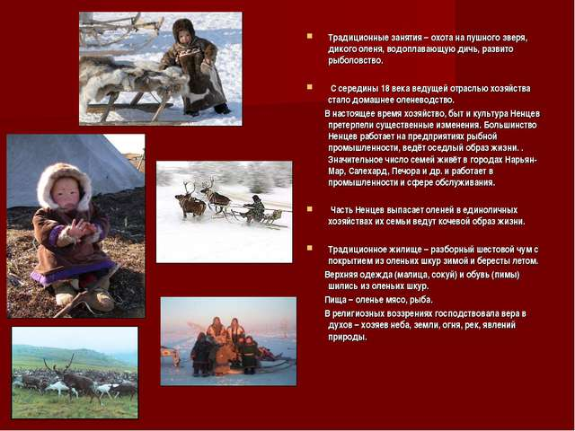 Традиционные занятия – охота на пушного зверя, дикого оленя, водоплавающую ди...