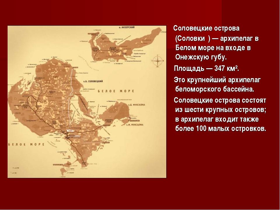 Соловецкие острова (Соловки́)— архипелаг в Белом море на входе в Онежскую г...