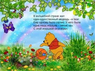 В волшебной стране жил один-единственный медведь –a bear. Ему одному было ску