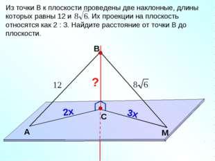 В С M А Из точки В к плоскости проведены две наклонные, длины которых равны 1