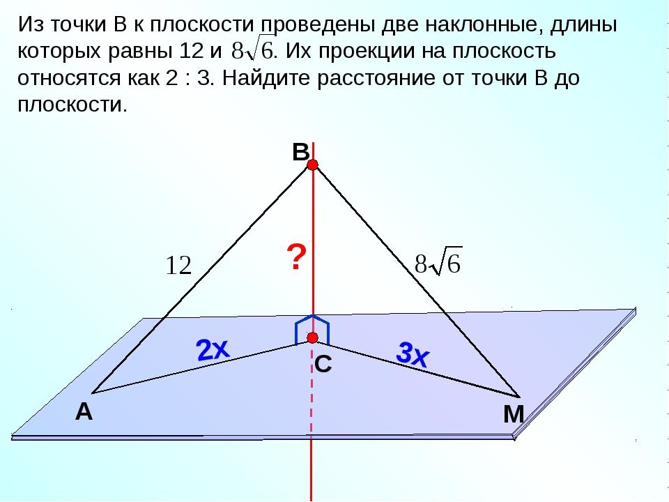 В С M А Из точки В к плоскости проведены две наклонные, длины которых равны 1...