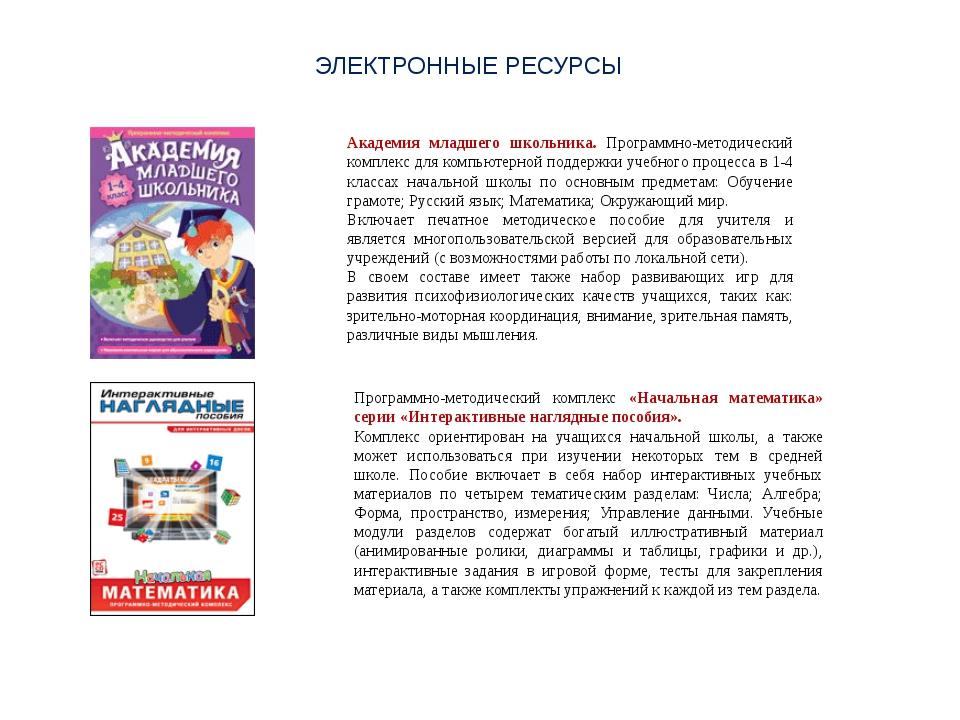 ЭЛЕКТРОННЫЕ РЕСУРСЫ Академия младшего школьника. Программно-методический комп...