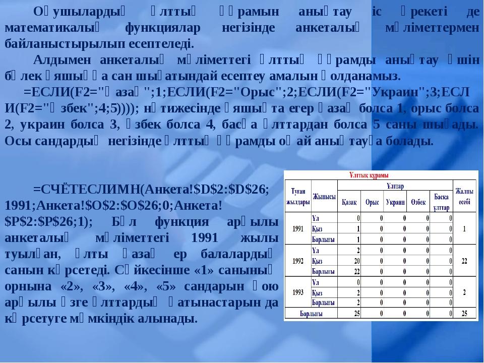 Оқушылардың ұлттық құрамын анықтау іс әрекеті де математикалық функциялар нег...