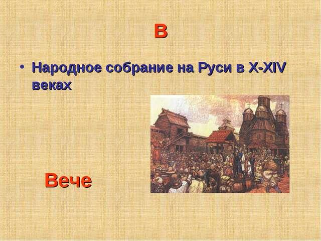 В Народное собрание на Руси в X-XIV веках Вече