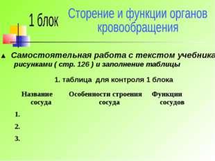 ▲ Самостоятельная работа с текстом учебника, рисунками ( стр. 126 ) и заполне