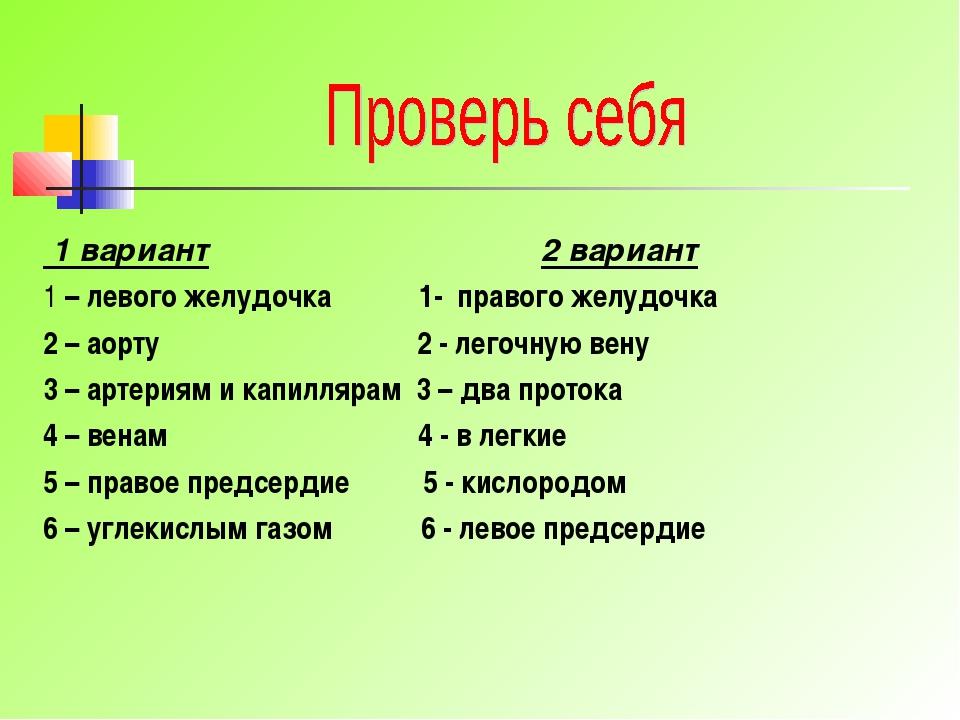 1 вариант 2 вариант 1 – левого желудочка 1- правого желудочка 2 – аорту 2 -...