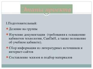 I.Подготовительный: Деление на группы Изучение документации (требования к осн