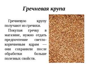 Гречневая крупа Гречневую крупу получают из гречихи. Покупая гречку в магазин