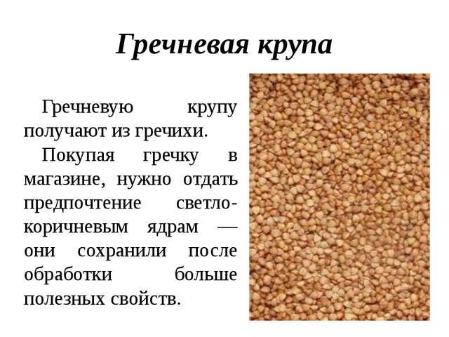 Гречневая крупа Гречневую крупу получают из гречихи. Покупая гречку в магазин...