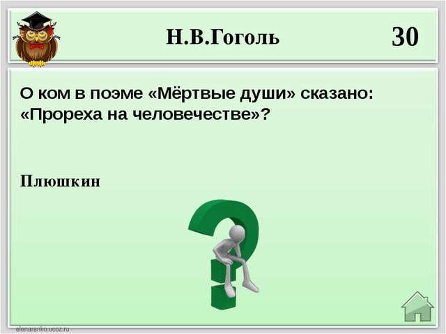 Н.В.Гоголь 30 Плюшкин О ком в поэме «Мёртвые души» сказано: «Прореха на челов...