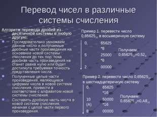 Перевод чисел в различные системы счисления Алгоритм перевода дробей из десят