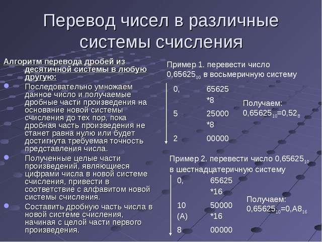 Перевод чисел в различные системы счисления Алгоритм перевода дробей из десят...