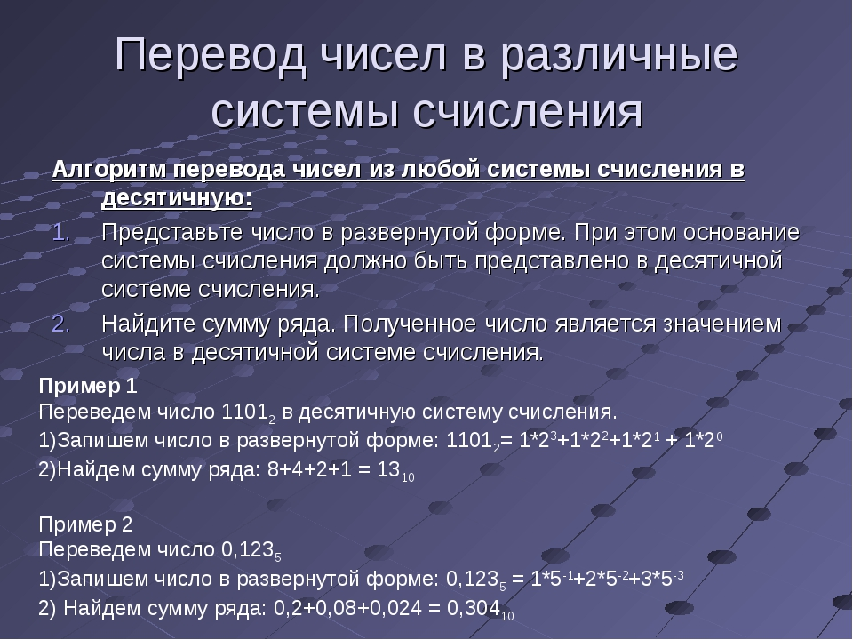 Перевод чисел в различные системы счисления Алгоритм перевода чисел из любой...