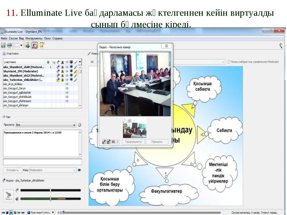 11. Elluminate Live бағдарламасы жүктелгеннен кейін виртуалды сынып бөлмесіне...