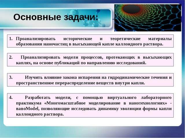 Проанализировать исторические и теоретические материалы образования наночасти...