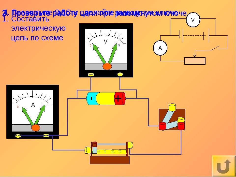 Составить электрическую цепь по схеме 2. Проверьте работу цепи при разомкнуто...