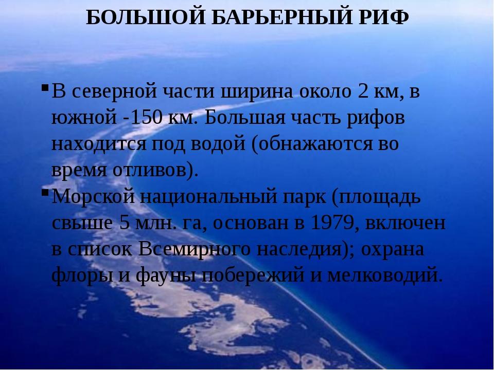 БОЛЬШОЙ БАРЬЕРНЫЙ РИФ В северной части ширина около 2 км, в южной -150 км. Бо...