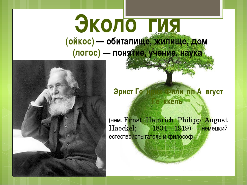 Эколо́гия Οἶκος (ойкос)— обиталище, жилище, дом λόγος(логос) — понятие, уче...