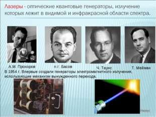 А.М. Прохоров Н.Г. Басов Ч. Таунс В 1954 г. Впервые создали генераторы электр