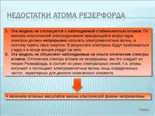 Эта модель не согласуется с наблюдаемой стабильностью атомов. По законам клас