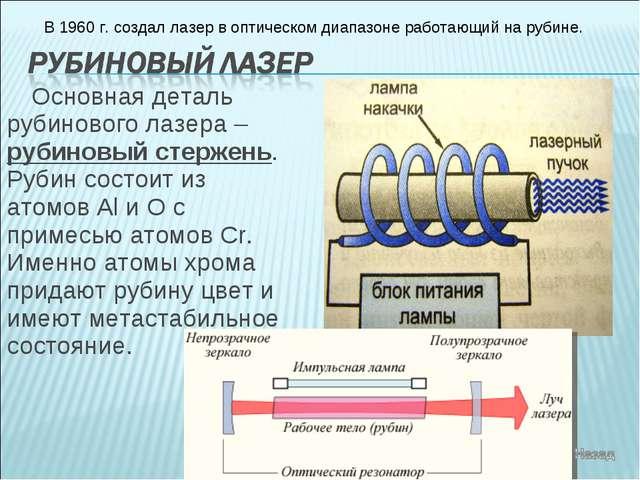 Основная деталь рубинового лазера – рубиновый стержень. Рубин состоит из атом...