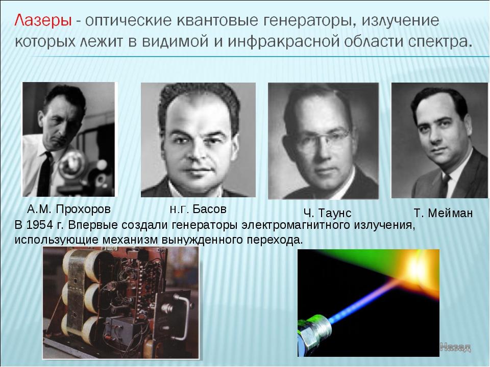А.М. Прохоров Н.Г. Басов Ч. Таунс В 1954 г. Впервые создали генераторы электр...