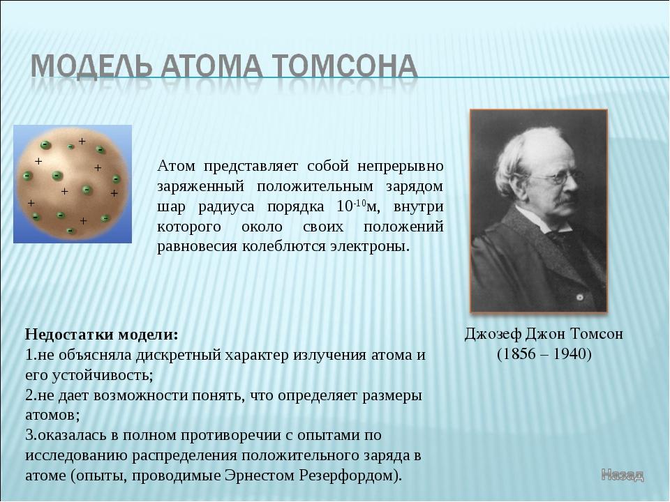 Джозеф Джон Томсон (1856 – 1940) Атом представляет собой непрерывно заряженны...