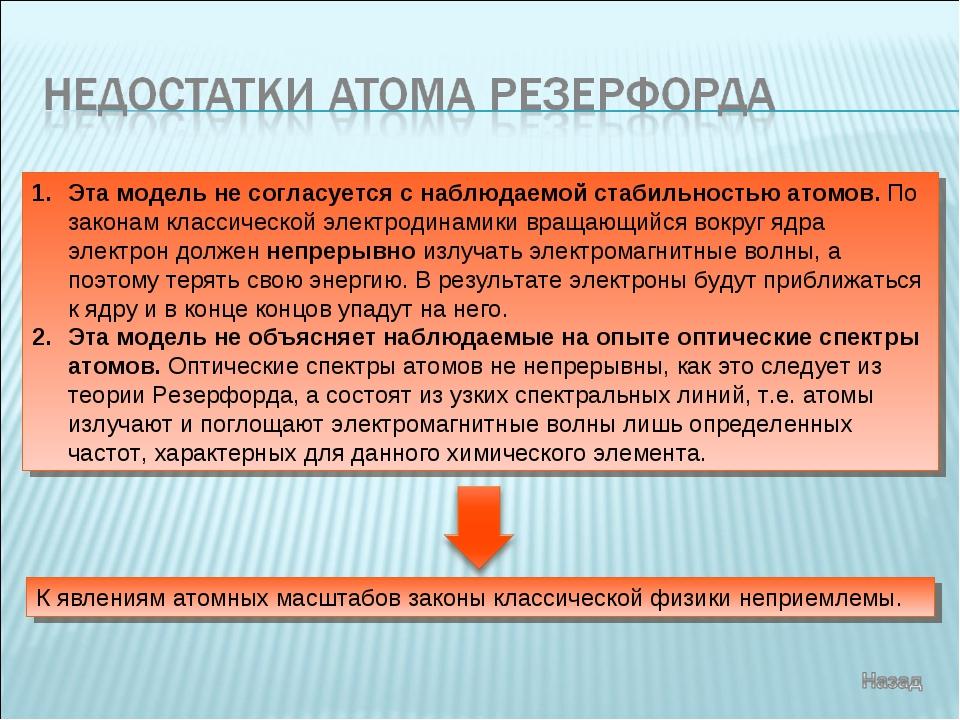 Эта модель не согласуется с наблюдаемой стабильностью атомов. По законам клас...