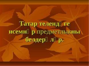 Татар телендәге исемнәр предметлыкны белдерәләр.