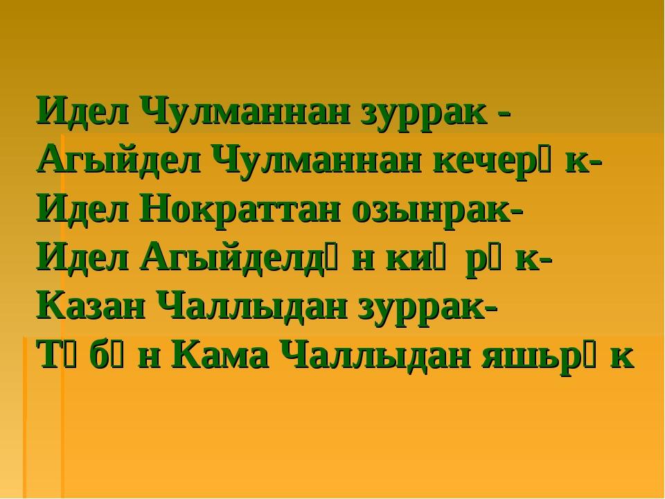Идел Чулманнан зуррак - Агыйдел Чулманнан кечерәк- Идел Нократтан озынрак- Ид...
