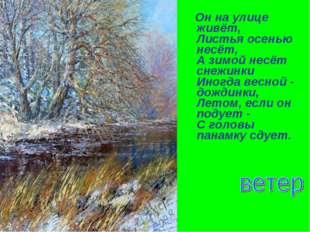 Он на улице живёт, Листья осенью несёт, А зимой несёт снежинки Иногда весно