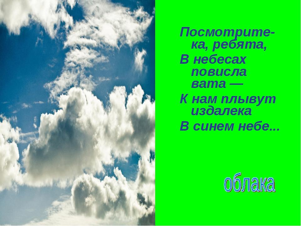 Посмотрите-ка, ребята, В небесах повисла вата — К нам плывут издалека В синем...