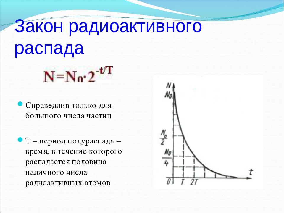 Закон радиоактивного распада Справедлив только для большого числа частиц Т –...
